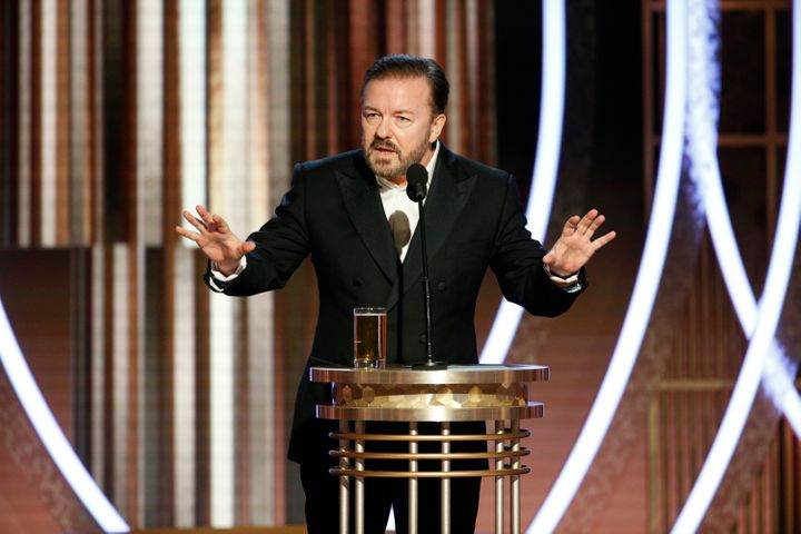 Ricky Gervais speaks onstage during the 76th annual Golden Globe Awards at The Beverly Hilton Hotel on Jan. 5, 2020, in Beverly Hills, California.