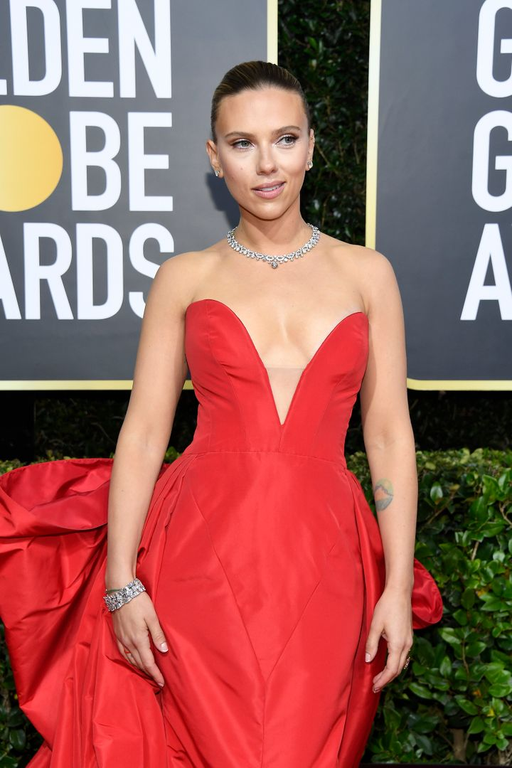 Scarlett Johansson arrives to the 77th Annual Golden Globe Awards held at the Beverly Hilton Hotel on January 5, 2020.