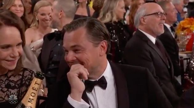 Leonardo DiCaprio, looking a lot like someone who wants the ground to swallow them