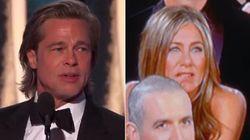 Pitt spiega perché è andato solo ai Golden Globes, gli sguardi della ex Aniston dicono