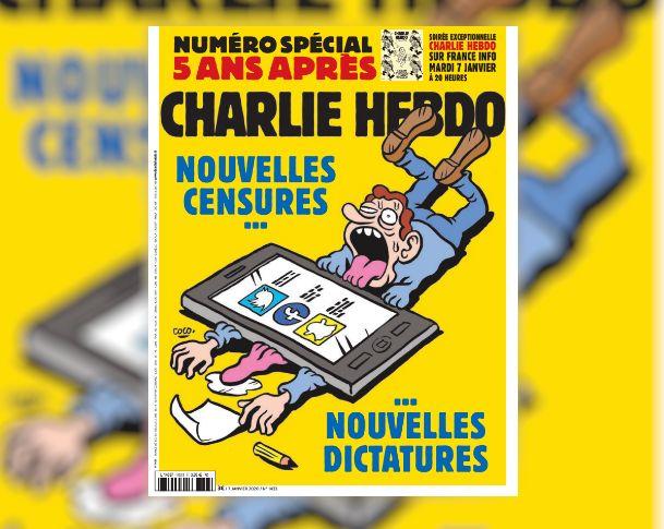 La couverture de l'hebdomadaire Charlie Hebdo à l'occasion du cinquième anniversaire de l'attentat survenu...