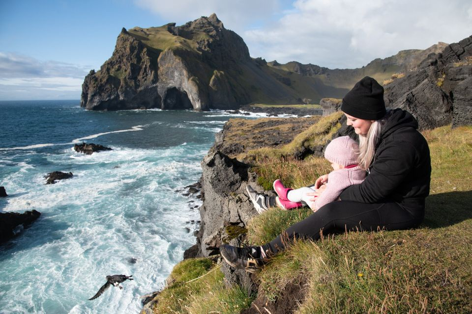 Sandra Sif Sigvardsdóttir releases a puffling from the cliffs with her 2-year-old daughter