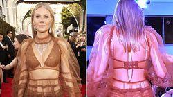 Trasparenze mozzafiato e slip in vista. Il look di Gwyneth Paltrow ai Golden Globes