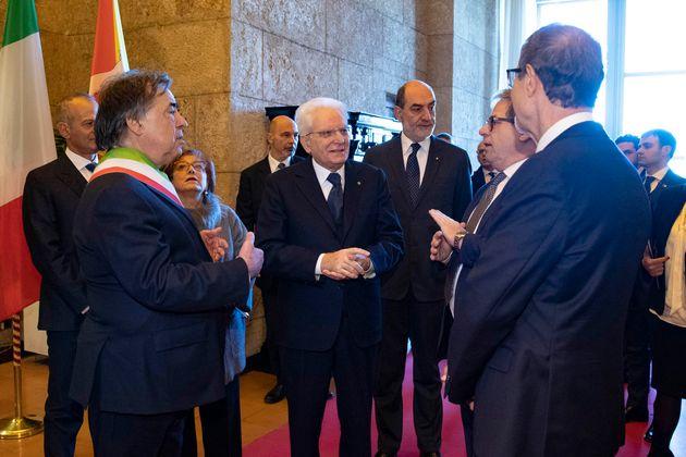 Il Presidente della Repubblica Sergio Mattarella a Palazzo Reale di Palermo, per la seduta solenne in...