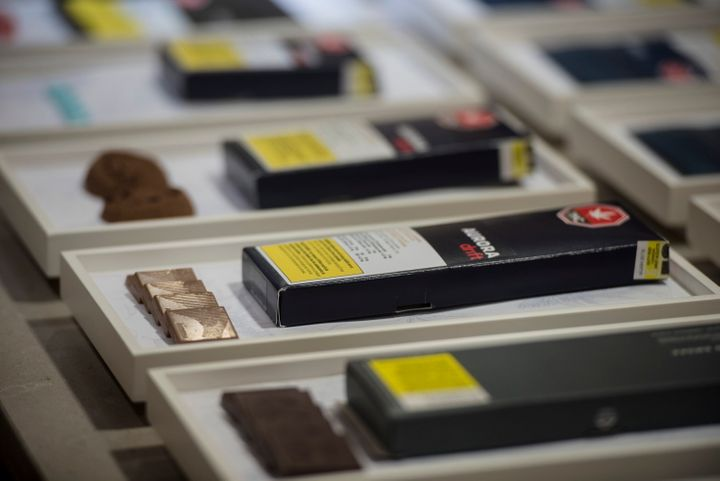 Chocolate edibles available for authorized retailers are displayed at the Ontario Cannabis Store in Toronto on Friday, January 3, 2020.