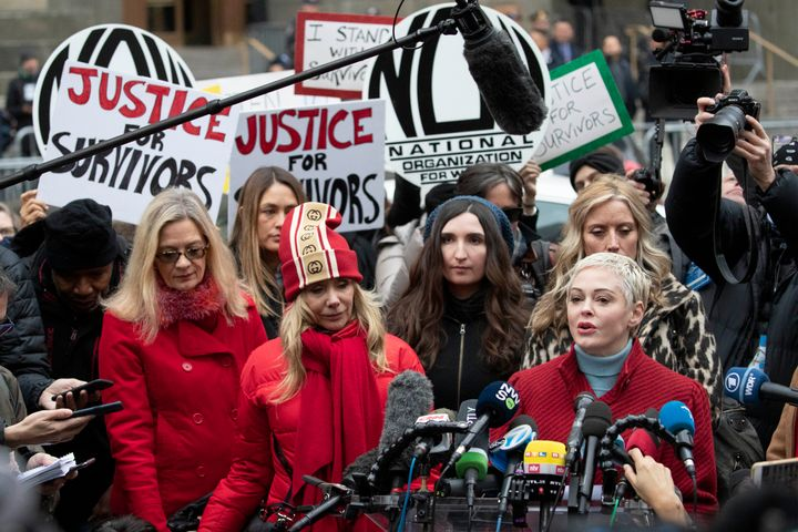 Actor Rose McGowan speaks at a news conference outside a Manhattan courthouse after the arrival of Harvey Weinstein, Jan. 6,