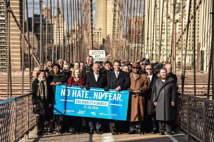 New York's top elected officials march across the Brooklyn Bridge during a Jewish solidarity march on Jan. 5, 2020.