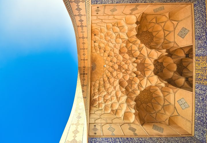 A portion of the ceiling of the Masjed-e Jameh mosque, a UNESCO World Heritage site in Isfahan, Iran.