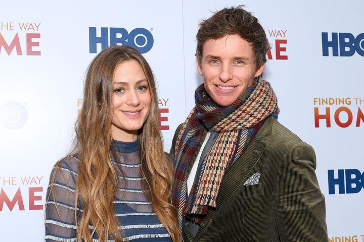 """Hannah Bagshawe and Eddie Redmayne attend HBO's """"Finding the Way Home"""" premiere in New York City on Dec. 11, 2019."""