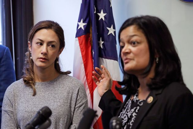 Negah Hekmati, left, looks on as Rep. Pramila Jayapal, D-Wash., addresses a news conference about Hekmati's...