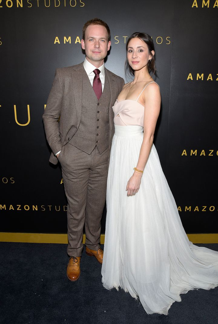 Patrick J. Adams and Troian Bellisario attend the Amazon Studios Golden Globes after-party at The Beverly Hilton Hotel on Jan. 5.