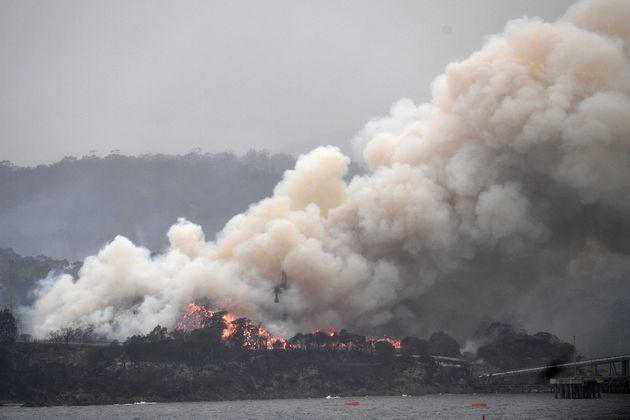 Un énorme panache de fumée, lors d'un incendie à Eden en Nouvelle-Galles du Sud,...