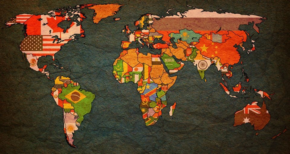 World Trade Organization member countries flags on world map with national