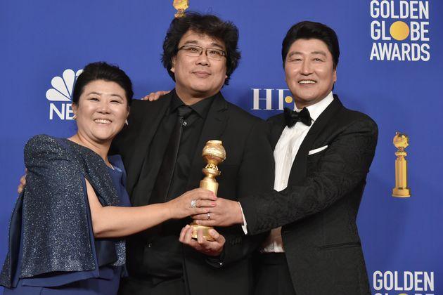 BEVERLY HILLS, CALIFORNIA - JANUARY 05: Lee Jeong-eun, Bong Joon-ho and Kang-Ho Song attend The 77th...
