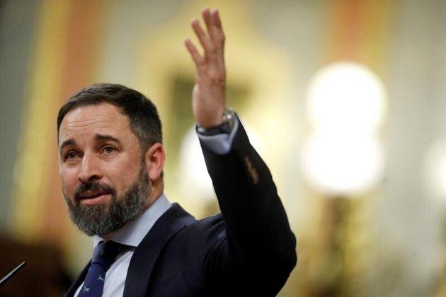 El presidente de Vox, Santiago Abascal, durante su intervención en el Congreso de los Diputados en la...