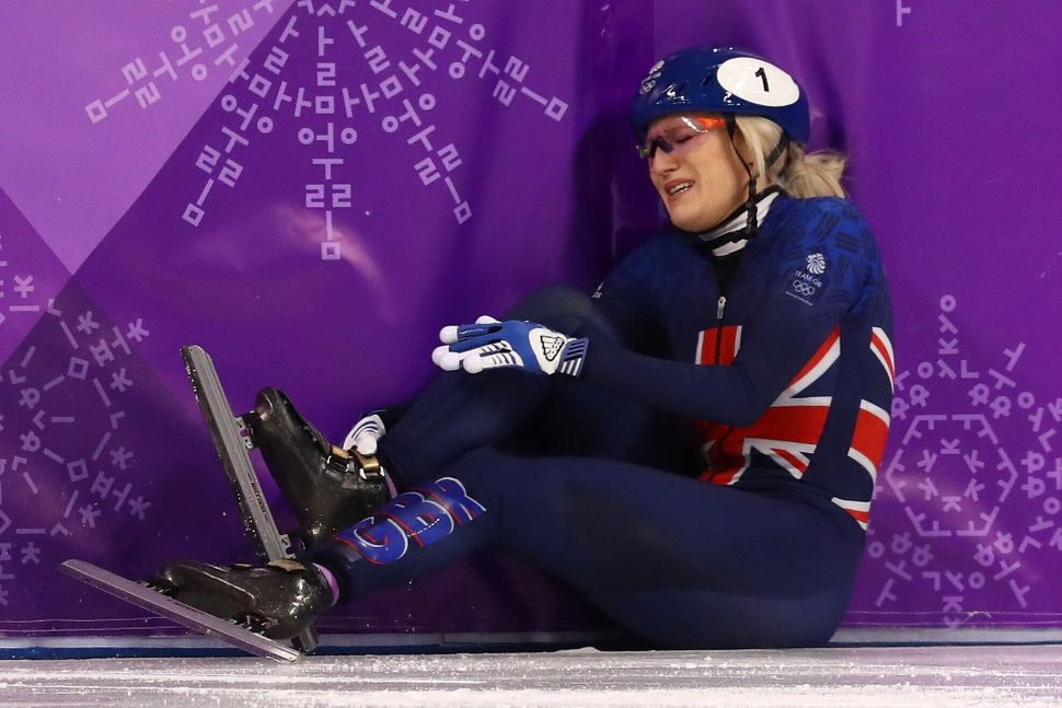 Elise Christie crashes out during the Ladies Short Track 1000m Heats at the 2018 Winter Olympics.