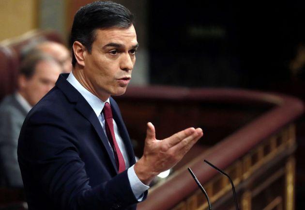 Pedro Sánchez en la sesión de
