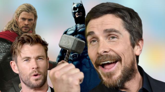 Chris Hemsworth ('Thor') y Christian Bale ('El Caballero Oscuro').