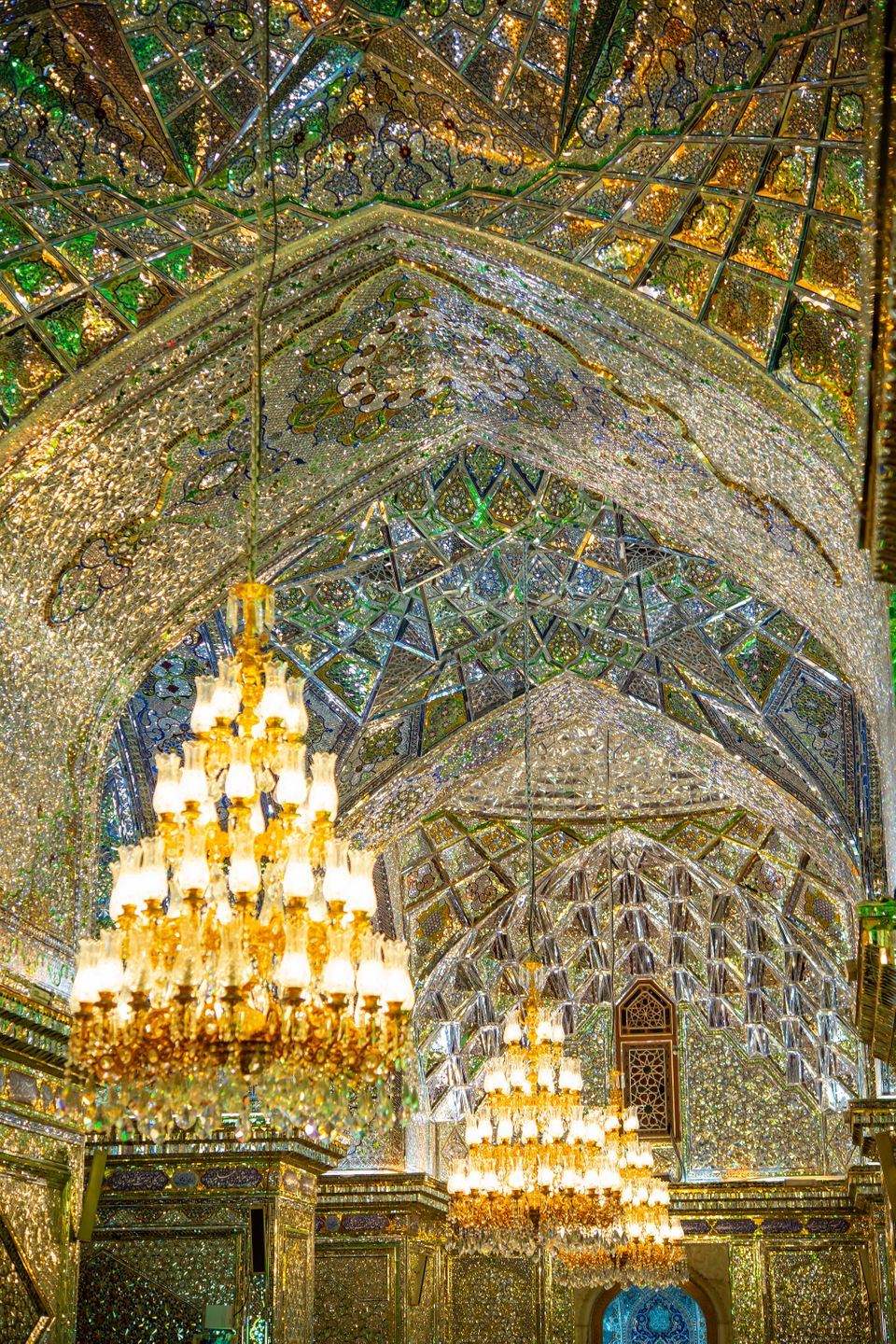 Interior decoration of the world famous holy Shah Cheragh Mosque (shrine) in Shiraz, Iran. Shah Cheragh...