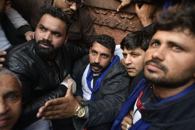NEW DELHI, INDIA - DECEMBER 20: Bhim Army chief Chandrashekhar Azad during a protest against CAA, at...