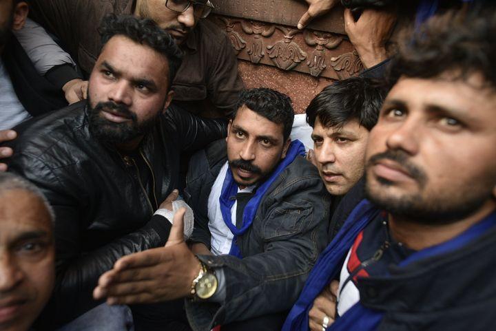NEW DELHI, INDIA - DECEMBER 20: Bhim Army chief Chandrashekhar Azad during a protest against CAA, at Jama Masjid on December 20, 2019 in New Delhi, India.