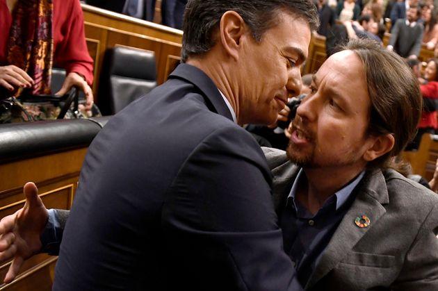 Pedro Sanchez et Pablo Iglesias à Madrid le 7 janvier