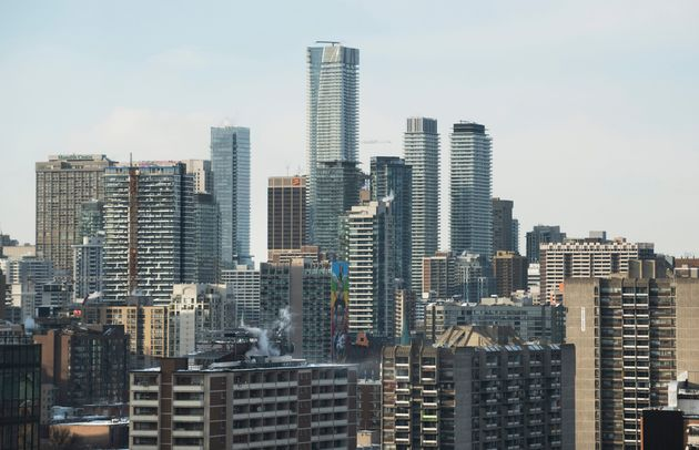 A view of condo and apartment buildings looking northwest from King St. and Berkeley St. in Toronto,...
