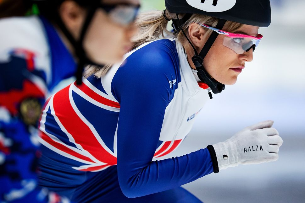 Elise Christie competes in January 2019.