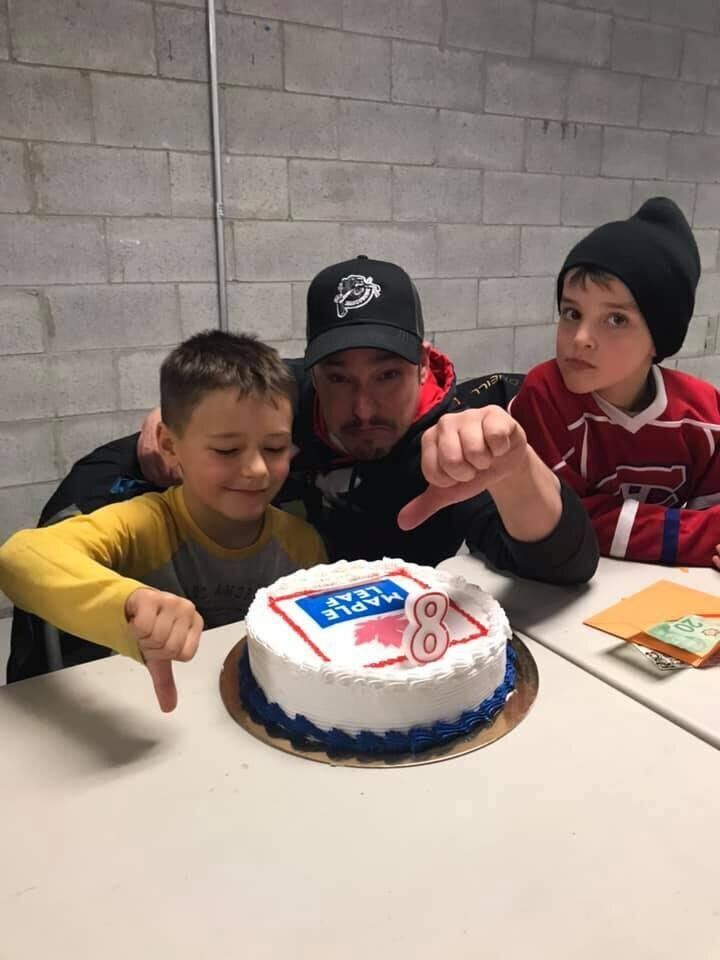 """Jacob, left, was not happy to find out his cake was from a """"ham"""" company."""