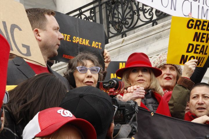 Actor Lily Tomlin joined Jane Fonda for the Fire Drill Fridays demonstration on December 27th.