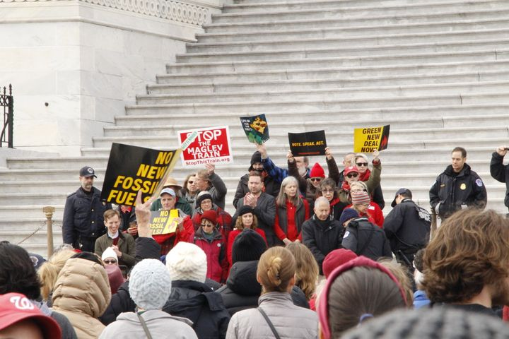 Protesters beginning to get arrested on the steps of the Capitol Building.