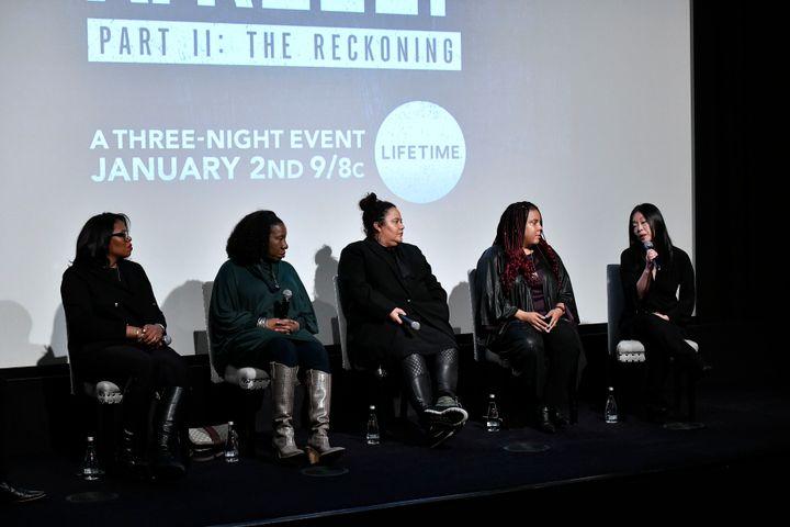"Brie Miranda Bryant,Tarana Burke,dream Hampton, Joanne Smith, and Clara Kim speak at screening of ""Surviving R. K"
