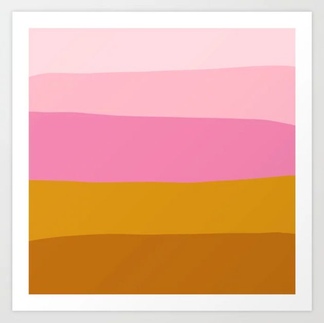 Spruce up a bare wall with an art print that looks like a sunset. Get this art print at