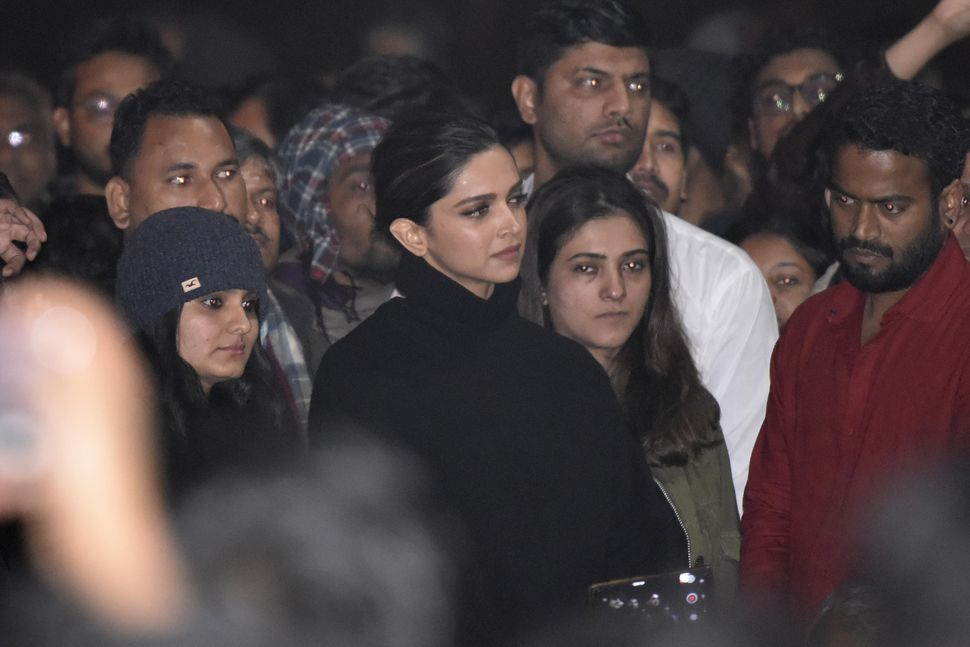 NEW DELHI, INDIA - JANUARY 7: Actor Deepika Padukone is seen at a gathering at JNU in solidarity with the students against Sundays violence on January 7, 2020 in New Delhi, India.