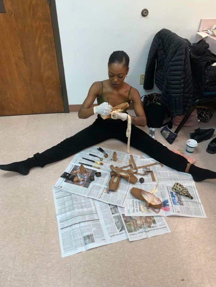 Dancer Cortney Taylor Key pancakes her pointe shoes with makeup to match her skin tone. Pointe shoes have reflected ballet's stance on race politics for centuries, recognizing only a pearlescent pink as default. Pancaking is a messy process and only recently have heritage pointe shoe suppliers incorporated darker palettes.