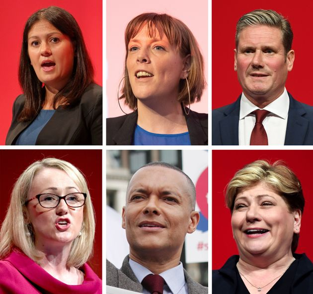 Lisa Nandy, Jess Phillips, Keir Starmer, Rebecca Long-Bailey, Clive Lewis and Emily