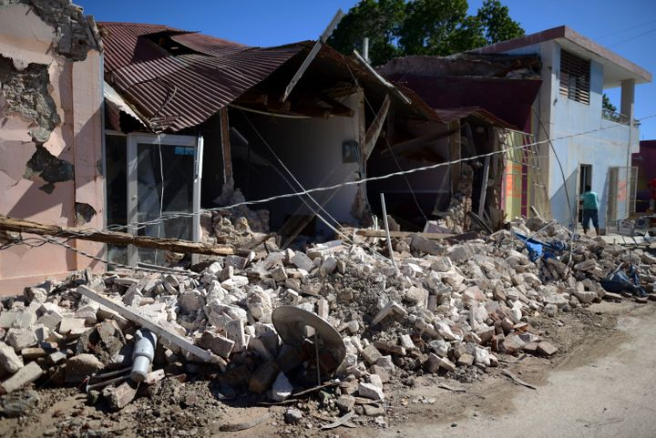 Homes are damaged after an earthquake struck Guánica, Puerto Rico, on Jan. 7, 2020.