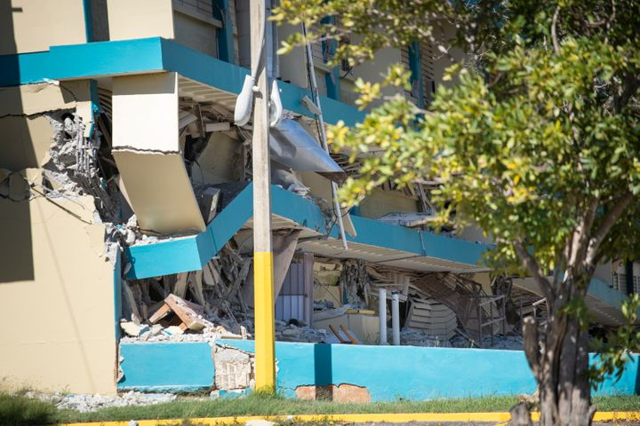 Public school Agripina Seda collapsed in Guánica after a 6.4 magnitude earthquake hit Puerto Rico on Jan. 7, 2020.