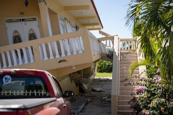 A house is collapsed after a major earthquake hit in Guayanilla, Puerto Rico, on Jan. 7, 2020.
