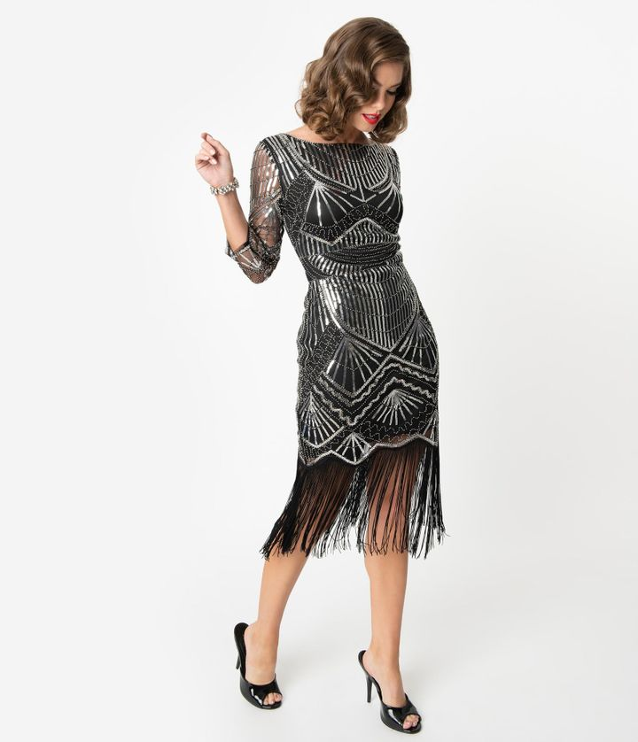 "You'll be able to jazz it up in this sparkly number.&nbsp;<a href=""https://fave.co/2QWXKtQ"" target=""_blank"" rel=""noopener noreferrer""><strong>Find the dress at Unique Vintage</strong></a>. It also comes in <a href=""https://fave.co/2QUmcMt"" target=""_blank"" rel=""noopener noreferrer""><strong>plus sizes</strong></a>."