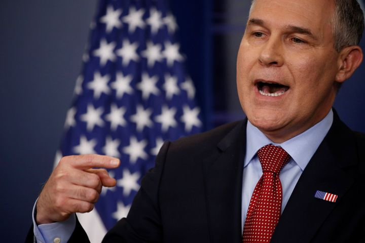 Then-EPA Administrator Scott Pruitt takes questions about the Trump administration's withdrawal of the U.S. from the Paris cl