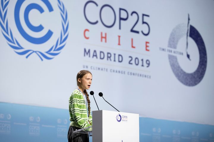 "Greta Thunberg giving a speech at the COP25 Climate Conference in Madrid in December. Legendary Canadian children's musician Raffi recently called her ""the moral voice of our time."""