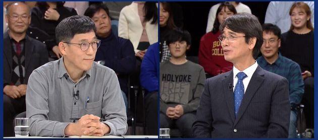유시민 사람사는세상 노무현재단 이사장과 진중권 전 동양대교수가 1일 오후 경기 고양시 일산 JTBC 스튜디오에서 열린 JTBC 신년특집 토론회에서 '한국 언론, 어디에 서있나'를 주제로...