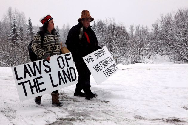 Todd Nelson and Christy Brown from the Nisga'a Nation arrive in support of the Unist'ot'en camp and Wet'suwet'en...