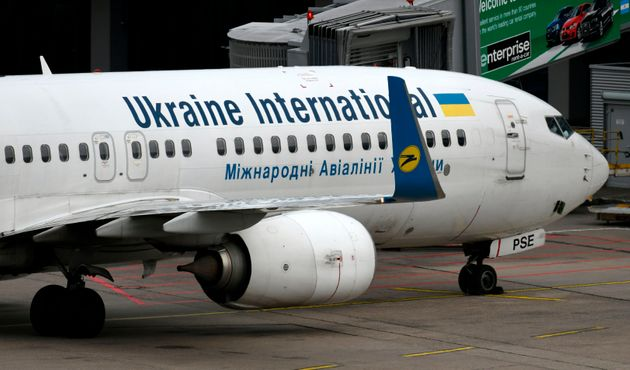 A Ukraine International Airline Boeing 737-800 plane is shown on September 24, 2019 at the airport in...
