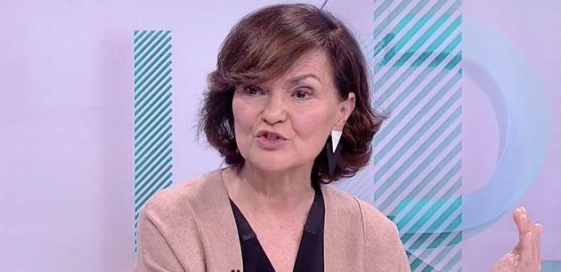 Carmen Calvo este miércoles durante su entrevista en