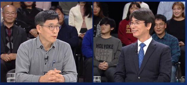 유시민 사람사는세상 노무현재단 이사장과 진중권 전 동양대교수가 JTBC 신년특집 토론회에서 '한국 언론, 어디에 서있나'를 주제로 토론하고 있는