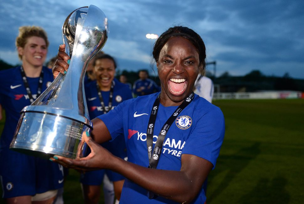 Aluko with the WSL Trophy after a match between Bristol City Women and Chelsea Ladies in 2018.
