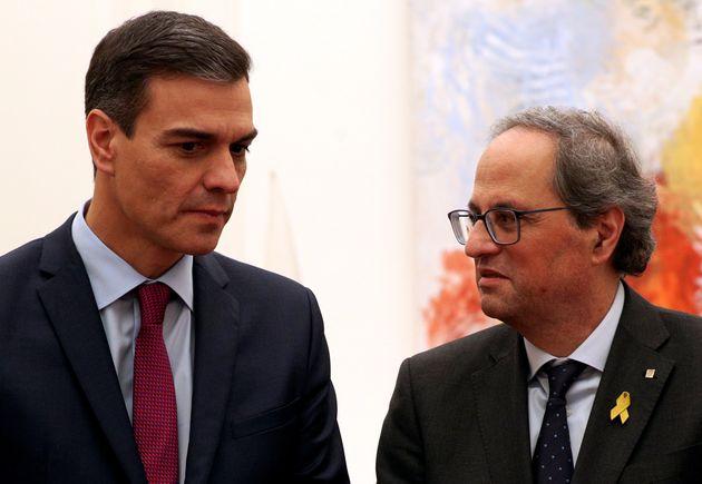 Pedro Sánchez y Quim Torra, en Pedralbes, el pasado 20 de diciembre de