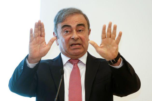 L'ancien patron de Renault-Nissan Carlos Ghosn pendant sa conférence de presse à
